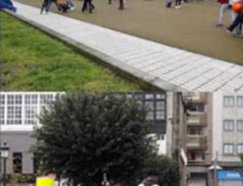 Transformación dun aparcamento fronte á escola nun espazo de xogo